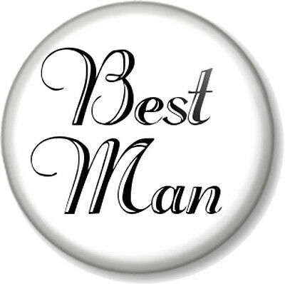 Best Man 1  Pin Button Badge Wedding Day Stag Do Party Favour Gift Team Groom Bl • 0.99£
