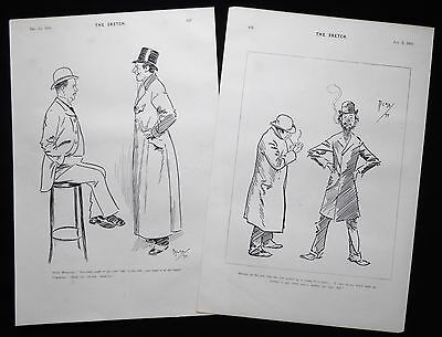PHIL MAY CARICATURES CARTOONS 2 X VICTORIAN PRINTS 1894 & 1895 • 9£