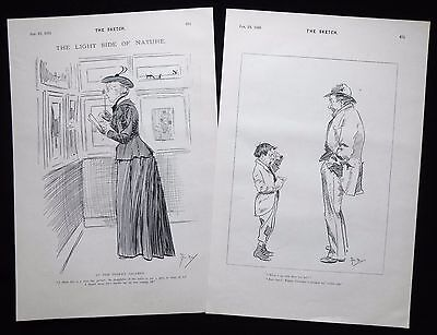 PHIL MAY CARICATURES CARTOONS 2 X VICTORIAN PRINTS 1895 • 9£