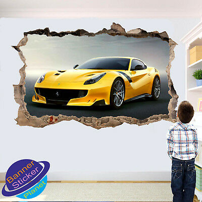 £14.99 • Buy Super Yellow Sports Car Wall Sticker 3d Effect Poster Decoration Decal Mural Yg5