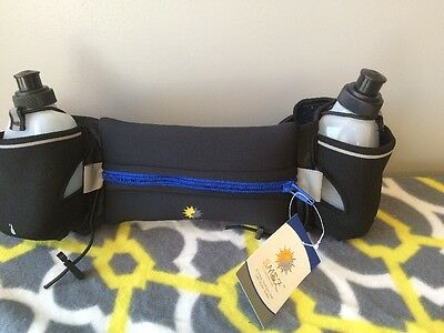 Hydration Belt  Runners Two 10oz BPA Free Water Bottles 7  Pouch Running • 14.14£