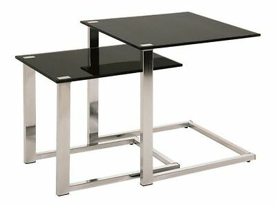 Set Of 2 Chrome & Black Tempered Glass Side End Tables • 69.95£