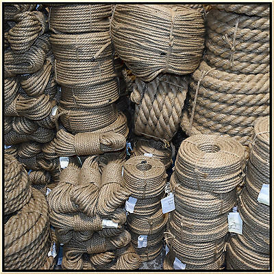 100% Natural Jute Hessian Rope Cord Braided Twisted Boating Sash Garden Decking  • 1.43£