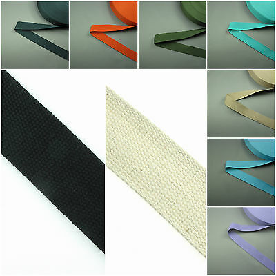 25mm Cotton Canvas Webbing Belting Fabric Strap Bag Making 2mm Thick Quality • 1.45£