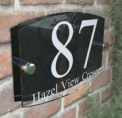 Contemporary House Sign Plaque Door Number 1 - 999 Personalised Name Plate • 6.99£