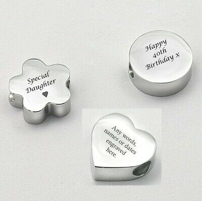 Personalised Charm Bead, Engraved Heart, Round Or Flower Bead, Any Engraving • 13.99£