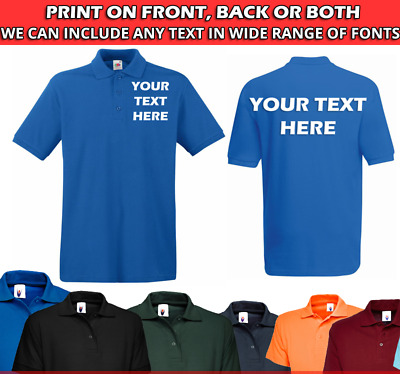 £8.45 • Buy Personalised POLO SHIRT Mens Work Wear Sport Team Uniform Party Customised TEXT
