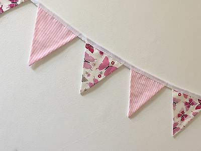 MINI Fabric Bunting Pink Butterfly & Stripe Girl Baby Gift • 5.50£