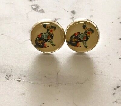 £2.99 • Buy Patchwork Rabbit Cabochon Silver Stud Earrings 12mm