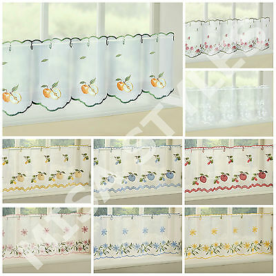 Kitchen Voile Cafe Net Curtain Panel Ready Made ~ Plain Embroidered New Designs • 7.99£