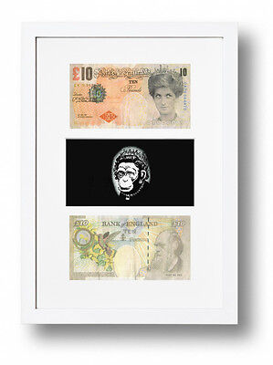 £19.95 • Buy White Framed & Mounted Banksy Di -faced Tenners & Monkey Queen Picture £10