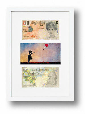 £19.95 • Buy Two Framed Mounted Di-faced Tenners £10 Note Banksy Balloon Girl Presentation