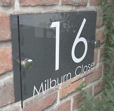 £8.99 • Buy Contemporary HOUSE SIGN / PLAQUE / DOOR / NUMBER / GLASS EFFECT ACRYLIC