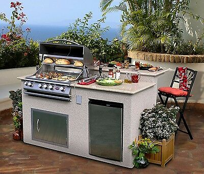 $5559.97 • Buy Cal Flame Outdoor Kitchen 4-Burner Barbecue Grill Island With Refrigerator