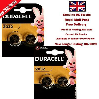 4 X 3V Duracell Coin Cell DL2032/CR/BR2032/CR2032 Car Key Fob Remote Battery • 3.60£