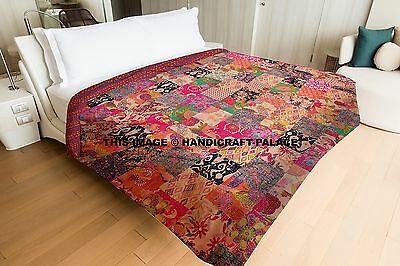 Indian Kantha Quilt Handmade Patchwork Reversible King Bedspread Blanket Throw~ • 46.99£