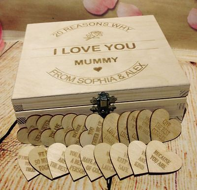 Personalised Reasons I Love You Wooden Heart Tags Mothers Day Present      • 7.99£
