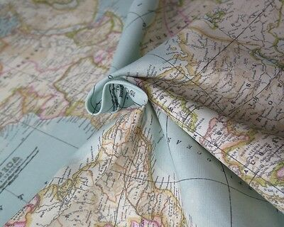 WORLD MAP 2 Globe Atlas Furnishing Fabric Cotton Material 140cm Wide SKY BLUE • 11.99£