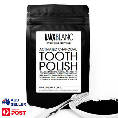 AU6.95 • Buy Activated Charcoal Tooth Polish Powder 30g | Pure Option To Whitening Toothpaste
