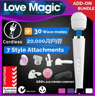 AU48.99 • Buy 30Mode CORDLESS SAA Magic Wand Personal Massager Vibrator With Head ATTACHMENTS