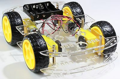 4WD Car Chassis Kit - Clear Acrylic - Battery Holder- L293D-Arduino,Pi,Robot,AVR • 24.99£