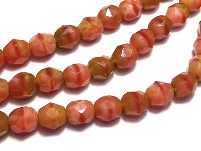 AU4.80 • Buy Czech Fire Polished Glass Beads 6mm Pink Coral Olivine (25pc) BEADS & TOOLS