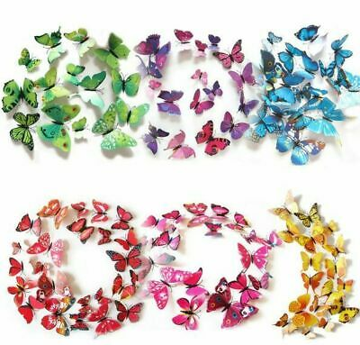 AU4.99 • Buy 12Pcs X 3D Butterfly Wall Stickers: Removable Decals Kids Nursery Wedding Decor