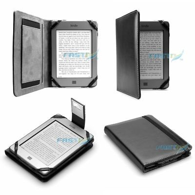 PREMIUM BLACK PU LEATHER KINDLE TOUCH / 4 WiFi CASE COVER WALLET WITH SLIM LIGHT • 10.99£