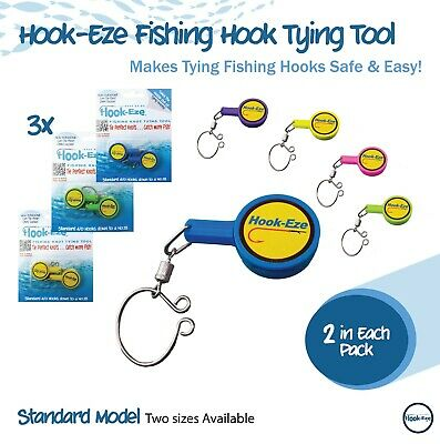 AU31.50 • Buy Hook-Eze Fishing Gear Knot Tying Tool Hook Safety Cover 6 Rods Hookeze (LBx3)