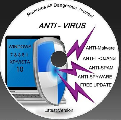 New Anti Virus +don't Pay Any More  Trojan Cd Dvd (xp/vista/windows 7/8 /88.1/10 • 2.69£