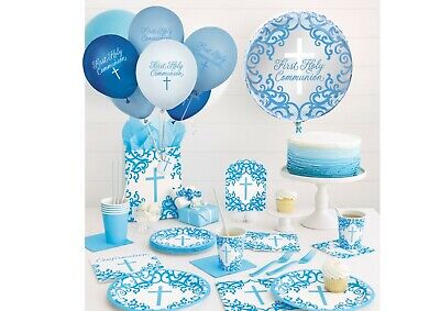 Boys 1st First Holy Communion Party Supplies Decorations Blue + White • 1.55£