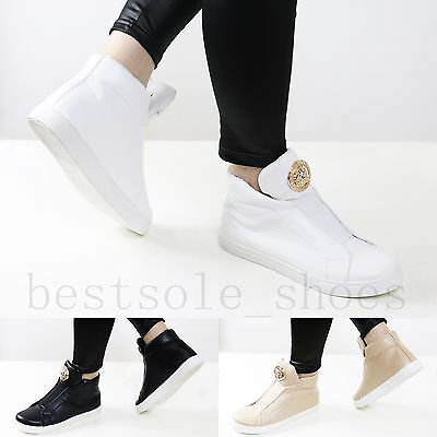 Ladies Women High Top Trainers Sneakers Padded Tongue Plimsolls Ankle Boots Size • 12.99£