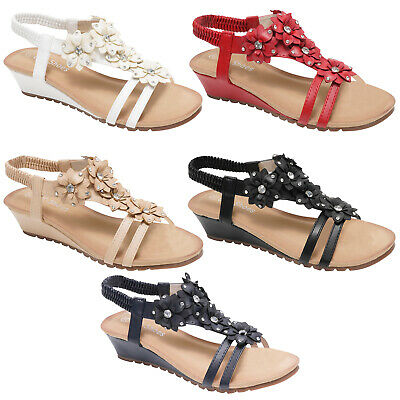 £9.99 • Buy Womens Sandals Ladies Strappy Gladiator Mid Low Wedge Evening Summer Beach Shoes