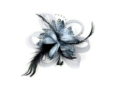 Grey Feather Fascinator Hair Clip Ladies Day Races Party Wedding • 19.99£