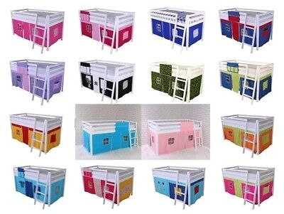 Bed TENT CURTAIN Mid Sleeper Kids Cabin Bed Bunk Bed  MANY COLOURS  100% Cotton • 39.99£