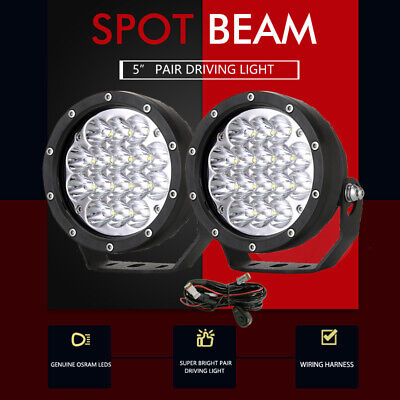 AU68.58 • Buy 5inch OSRAM LED Driving Lights Spotlights Spot Round Offroad 4WD Black 4x4 Lamp