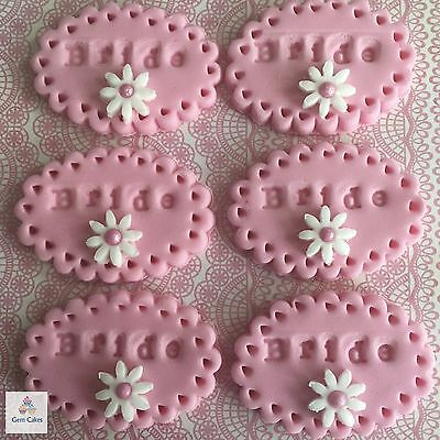 6 Edible Pink Bride Embossed Cup Cake Decorations Toppers Wedding Hen Do Night • 3.99£