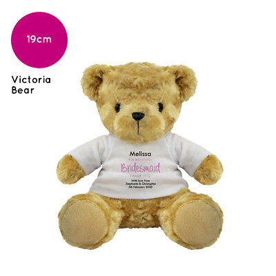 £10.60 • Buy Personalised Name Bridesmaid Victoria Teddy Bear Wedding Favour Thank You Gift