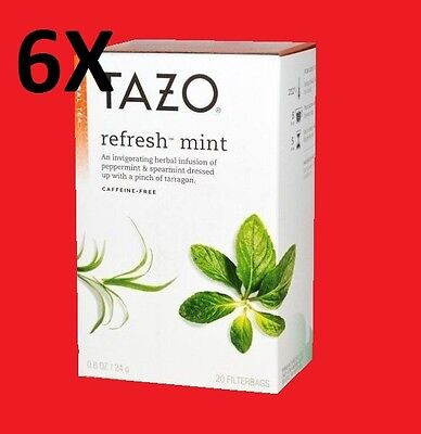 6 Boxes Of Tazo Refresh Mint - Herbal Tea - 20 Tea Bags - NEW • 23.61£