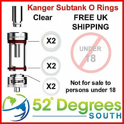 Kanger Subtank O Rings Rubber Seal Colour Clear Silicone - Free UK Shipping • 1.99£