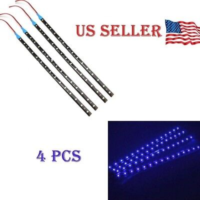 $6.85 • Buy Blue 4PCS 12V 12  15SMD Flexible LED Strip Light Waterproof For Car Truck Boat