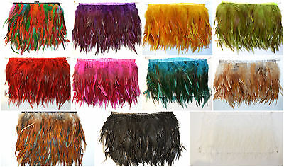 £5.99 • Buy Rooster Hackle Coque Feather Fringe Craft Trim Sewing Costume Millinery 13 Cols