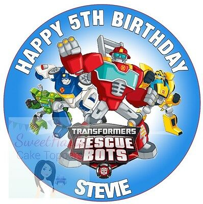 Transformers Rescue Bots Cake Topper Round Decoration Personalised Edible Icing • 5.99£