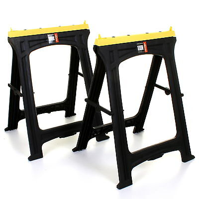 2 Plastic Saw Horse Trestles Twin Pack Non-slip Rubber Inserts Max Load 200kg • 39.99£