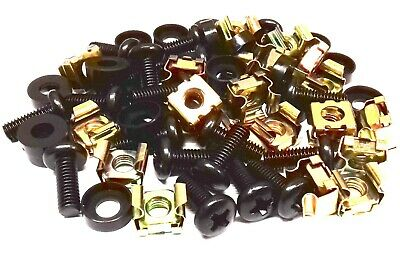 20 PACK BLACK M6 CAGE NUTS BOLTS WASHERS FOR 19  RACK MOUNT CABINETS 15mm THREAD • 3.49£