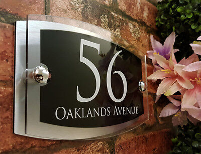 Contemporary House Signs Plaques Door Numbers 1 - 999 Personalised Name Plate • 9.65£