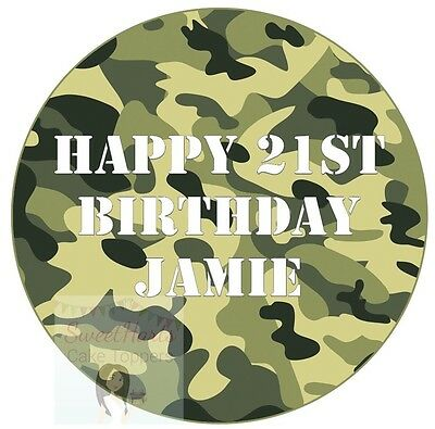 £5.99 • Buy Army Camouflage Cake Topper Personalised Round Edible Cake Decoration Green Camo