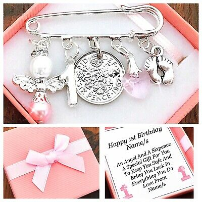 LUCKY SIXPENCE FIRST 1ST BIRTHDAY Gift, GIRL/BOY PERSONALISED Gift Box • 4.45£