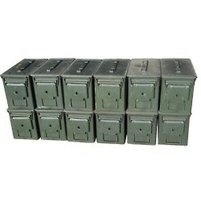 $170 • Buy US Military M2A1 .50 Cal Ammo Cans, Pack Of 12 Grade 2