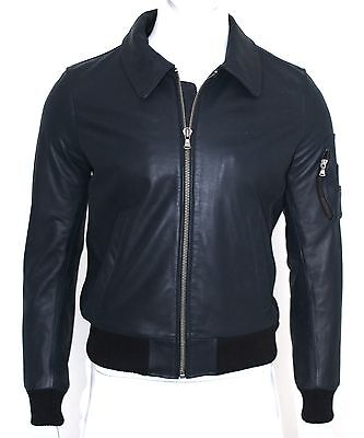 £129.95 • Buy Richmond Mens Gents Navy Classic Retro Bomber US Air Force Pilot Leather Jacket